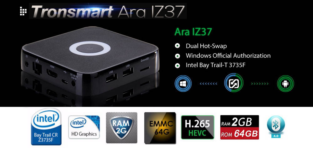 Ara IZ37 2G/64G Windows 10 Android Dual OS